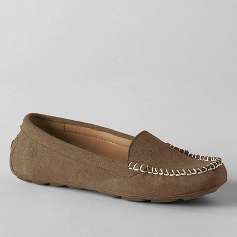 Lands+ End - Beige women+s wide jackie venetian driving mocs