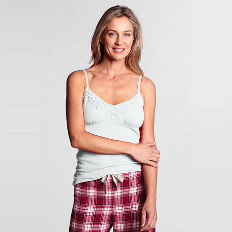 Lands+ End - White women+s empire waist camisole