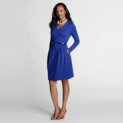 Lands+ End - Blue Shoulder Pleat Dress