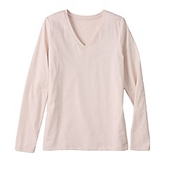 Lands' End - Pink women's regular supima long sleeved v-neck tee