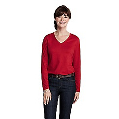 Lands' End - Red women's regular supima long sleeved v-neck tee
