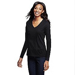 Lands' End - Black supima long sleeved v-neck tee