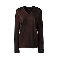 Lands' End - Brown regular supima long sleeved v-neck t-shirt