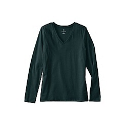 Lands' End - Green women's regular supima long sleeved v-neck tee