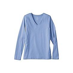 Lands' End - Blue women's regular supima long sleeved v-neck tee