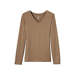 Lands' End - Beige regular supima long sleeved v-neck tee