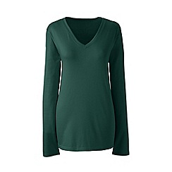 Lands' End - Green supima long sleeved v-neck t-shirt