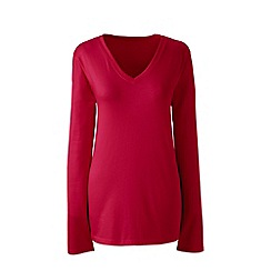 Lands' End - Red regular supima long sleeved v-neck tee