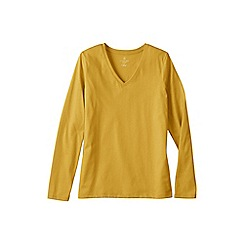 Lands' End - Gold regular supima long sleeved v-neck tee