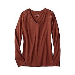Lands' End - Orange women's regular supima long sleeved v-neck tee