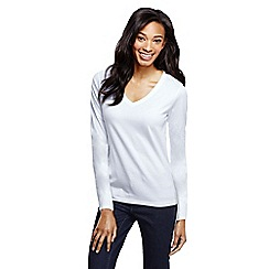 Lands' End - White supima long sleeved v-neck tee