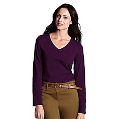 Lands' End - Purple regular supima long sleeved v-neck tee