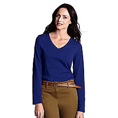 Lands' End - Blue women's regular supima long sleeved v-neck tee