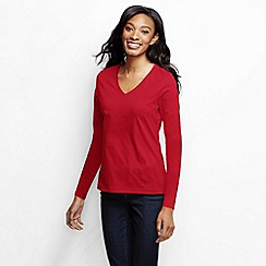 Lands' End - Red women's supima long sleeved v-neck tee