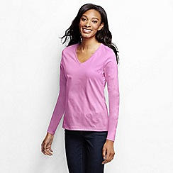 Lands' End - Pink women's supima long sleeved v-neck tee