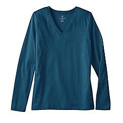 Lands' End - Blue women's supima long sleeved v-neck tee