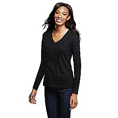Lands' End - Black women's supima long sleeved v-neck tee