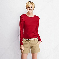 Lands' End - Red women's supima long sleeved crew neck tee