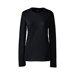 Lands' End - Black petite supima long sleeved crew neck tee