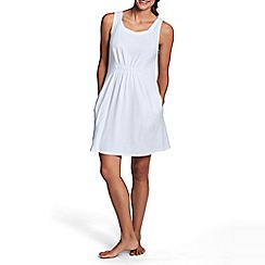 Lands' End - White women's scoopneck plain cover up beach dress