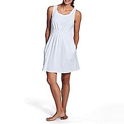 Lands' End - White women's scoopneck plain cover up beach dress