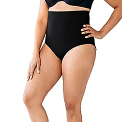 Lands' End - Black women's plus size beach living full coverage control briefs