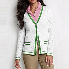 Lands' End - White women's cotton pointelle argyle cardigan
