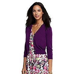 Lands' End - Purple women's supima cotton grosgrain-trim cardigan