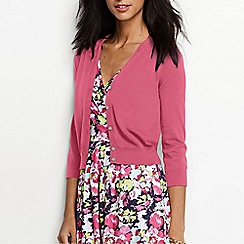 Lands' End - Pink women's supima cotton grosgrain-trim cardigan