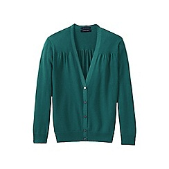 Lands' End - Green supima cotton grosgrain-trim cardigan