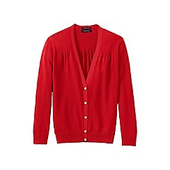 Lands' End - Red women's supima cotton grosgrain-trim cardigan