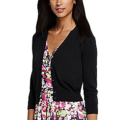 Lands' End - Black women's supima cotton grosgrain-trim cardigan