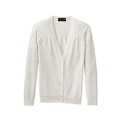Lands' End - Cream women's supima cotton grosgrain-trim cardigan