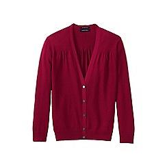 Lands' End - Pink supima cotton grosgrain-trim cardigan