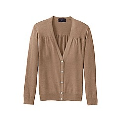 Lands' End - Beige women's supima cotton grosgrain-trim cardigan