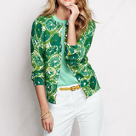 Lands+ End - Green women+s patterned supima fine gauge cardigan
