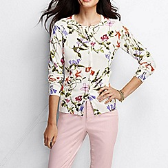 Lands' End - Multi women's long sleeve floral print supima cardigan