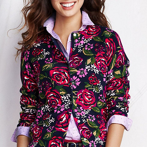 Lands+ End - Multi women+s long sleeve floral print supima cardigan