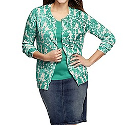 Lands' End - Blue women's plus long sleeve floral print supima cardigan