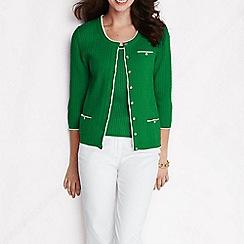 Lands' End - Green women's linen/cotton cable scoopneck cardigan