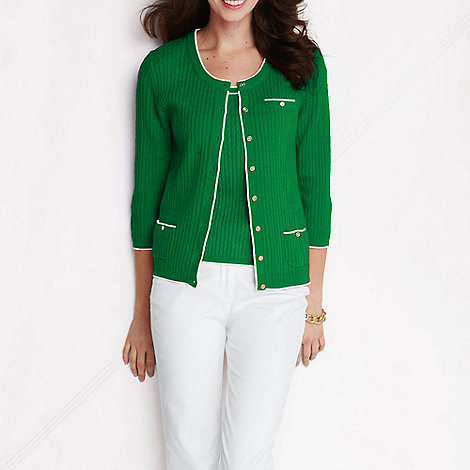 Lands+ End - Green women+s linen/cotton cable scoopneck cardigan