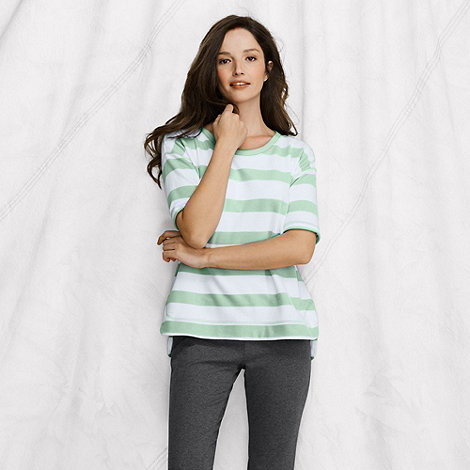 Lands+ End - Green women+s elbow-sleeve open crewneck