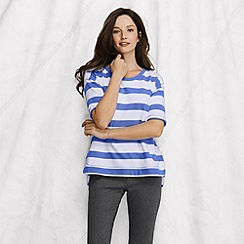 Lands' End - Blue women's elbow-sleeve open crewneck