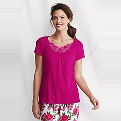 Lands' End - Pink women's gathered rib sleep top