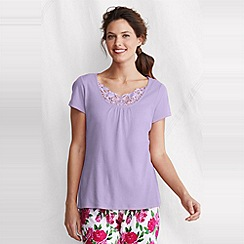 Lands' End - Purple petite gathered rib sleep top
