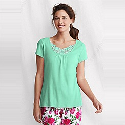 Lands' End - Green petite gathered rib sleep top
