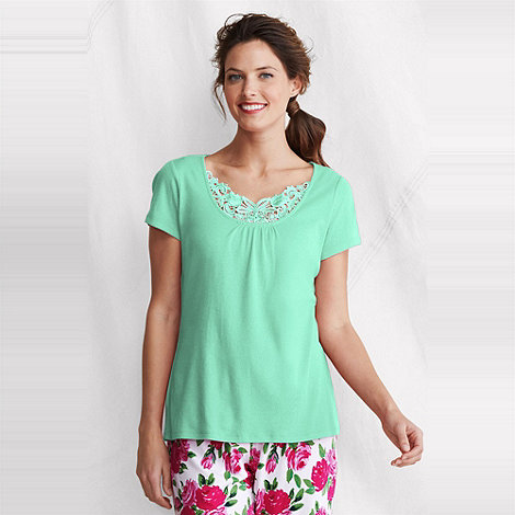 Lands+ End - Green women+s gathered rib sleep top