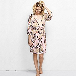Lands' End - Pink women's lightweight viscose floral print dressing gown