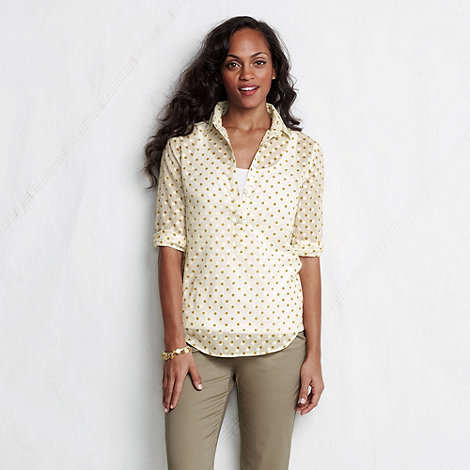 Lands+ End - Cream women+s three-quarter sleeve cotton lawn shirt