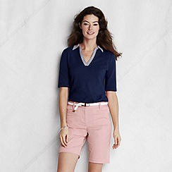 Lands' End - Blue women's striped collar cotton/modal pique polo